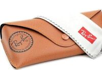 Ray ban Brand new leather glasses case Brown sunglasses case with cleaning cloth