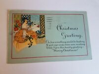 Greeting Postcard Vintage Christmas Lady and Blue Birds