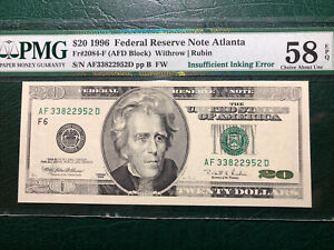 1996 $20.00 FRN (Magnetic Ink error) PMG58Q