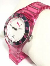 Puma Watch Injection Transluce Pink Steel Case White Face Pu910662002 Silver New