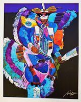 JOHN NIETO Hand SIGNED SERIGRAPH Silkscreen FRAMED NATIVE AMERICAN FANCY DANCER