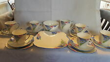 Shelley Blue and Pink Daisies  vintage Art Deco antique tea set / cup & saucers