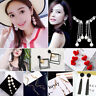 Sterling 925 Silver Women Tassel Crystal Stud Drop Dangle Chain Earrings Jewelry