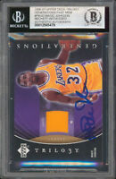 Magic Johnson Signed 2006 UD Trilogy GPM #PMJO Card Auto Grade 10 BAS Slabbed