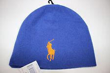 NWT POLO RALPH LAUREN Men's Royal Blue Orange Big Pony ACTIVE ROY Winter Hat OS