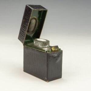 Antique Black Tooled Leather 'Ink' Flip-top Travel Inkwell Miniature Ink Bottle