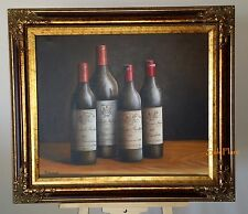 Robinson Bottles of Wine Beautiful Art Oil on Canvas Painting Signed