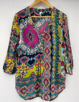 LOOBIES STORY NZ amazing Printed Boho Beaded Top Blouse Size 10 12 $335