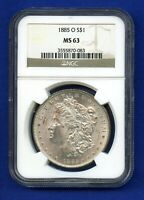 1885 O NGC MS63 Morgan Silver Dollar $1 US Mint 1885-O NGC MS-63 PQ Coin !