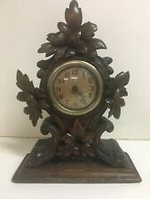 New ListingBlack Forest Swiss Wood Carved Shelf Mantle Clock Many Leaves