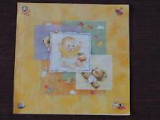 10 serviettes Baby avec rare naissance baptême teddy mignon jaune des nappes