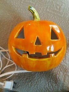 Vintage Hand Painted Ceramic JACK-O-LANTERN Halloween Pumpkin Electric Light