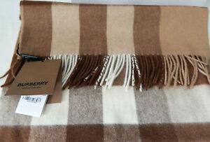 Burberry London Men's Scarf Half Mega Check Cashmere Mid Camel Scotland New Tags