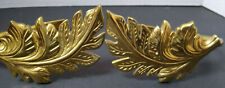 VTG BRASS LEAVES DRAPERY CURTAIN HOLDER TIE BACKS WALL MAUNTED