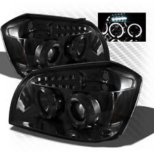 For Smoked 05-07 Dodge Magnum Projector Dual Halo LED Headlights Sm Head Lights