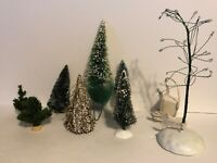 8 Misc. Christmas Village Trees.  Includes A Working Lit Dept 56 Bare Tree!