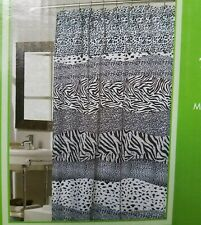 Wild Encounters Collection Faux Fur Shower Curtain Snow Leopard Trimmed Shower