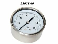 "New Hydraulic Liquid Filled Pressure Gauge 0-60 PSI 1/4"" NPT Center Back Mount"