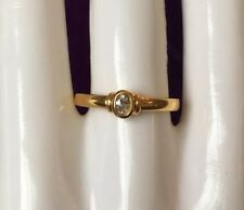 NEW HALLMARKED 18 CT GOLD 0.19 CARAT OVAL CUT DIAMOND RING SIZE T 1/2