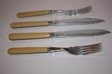 Vintage Sterling Silver Fish Knifes and Forks with Celluloid Handles