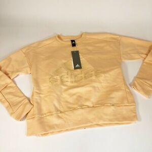 Adidas ID Glam Fleece Sweatshirt XS Orange Glow Back Pleats Women's DZ8679 New