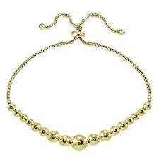 Gold Tone over Sterling Silver Graduated Bead Adjustable Bracelet