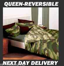 ARMY CAMOUFLAGE DOONA DUVET QUILT COVER +PILLOWCASE SET FITS QUEEN REVERSIBLE