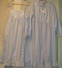 2 Pc.Ile Saint Louis/Wacoal/European Baby Blue Cotton Sleep Gown &Robe Set-L-NWT
