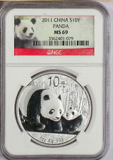 2011 China 1 oz. 10 Yuan       Silver Panda NGC MS69