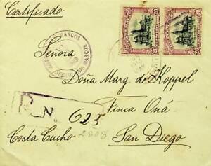 GUATEMALA 1910 PRE WWI 1c + 20c 2 PAIRS ON REGD COVER TO SAN DIEGO USA W/CACHET