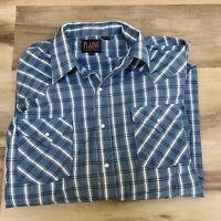 Vintage Plains Western Wear Long Sleeve Button Up Plaid Pearl Snap Shirt Mens XL