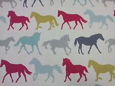 "Clarke and Clarke Stampede Horses Multi Vintage Fabric 137cm/54"" wide"