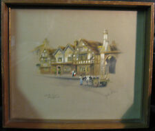 Vintage Clyde Cole Print - White Swan Stratford - Signed - Good Condition