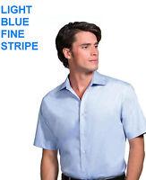 "Kustom Kit Mens boys Short sleeve shirt office BLUE PINSTRIPE 14.5""  SMALL NEW"