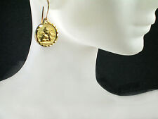 Angel 5/8 inch dmtr. dangle medal 14k yellow gold filled French hook earrings