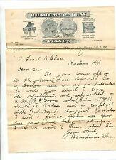 Vintage Illustrated Letterhead BOARDMAN & GRAY PIANOS Albany NY 1893 Scarce!
