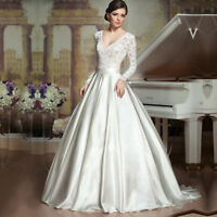 White/Ivory Satin Lace Wedding Dress Bridal Gown Custom Size 4 6 8 10 12 14 16++