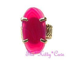 Bright Bold Hot Pink Geunine Quartz Agate Slice Cocktail Statement Dress Ring