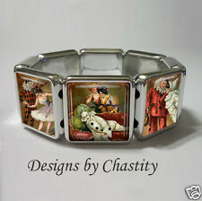 Masquerade Circus Bracelet Vintage Altered Art Unique Clown Jester Fair Carnival