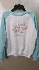 Free Valley Sweater Large Blue White Crew Neck Long Sleeve Japanese Cats Womens