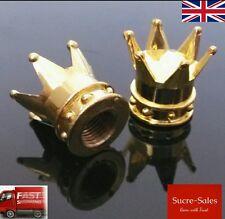 Gold crown Alliage Roue Voiture Pneu De Pneu Valve Poussière Capuchons couvre pneu Lot de 2 UK