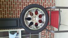 4 NEW TIRES WITH USED 20INCH CHROME RIMS, 6 LUGS.