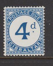 """1956 GIBRALTAR 4d Postage Due """"BROKEN D"""" Sg D3a MNH CV £40"""