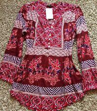 NWT! Women's Lucky Brand Boho Paisley Floral M  Blouse Top Shirt PRETTY