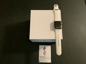 Apple Watch Series 1 38mm Stainless Steel Case Orig Box White Sport Band & Other