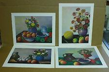 "C. L. Haney ""God's Bountiful Blessings"" Set of 4 Prints Still life Fruit Flowers"