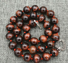 "12MM Red tiger's-eye beads necklace 18"" Tibetan silver love clasps"