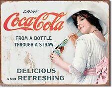 """COCA Cola/Coke, con una cannuccia, Stile Retrò In Metallo Muro Firmare 12.5""""X 16"""" (41X30 cm)"""