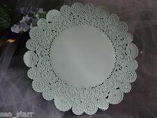 "VTG 8"" INCH PALE AQUA BLUE LACE PAPER ROUND DOILY 10 PCS CRAFT"