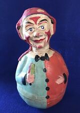 "Antique Composite Paper Mache Roly Poly Clown German Vtg Circus Toy - 9 1/2"""